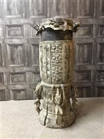 Lot 1098-AN AFRICAN CARVED WOOD DRUM