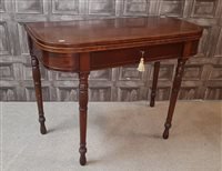 Lot 1632-A REGENCY MAHOGANY AND BOXWOOD LINED 'D' SHAPED FOLD OVER TEA TABLE