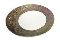 Lot 1630-AN ARTS & CRAFTS STYLE OVAL WALL MIRROR