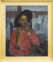 Lot 545-THE THINKER, AN OIL BY JEAN YOUNG