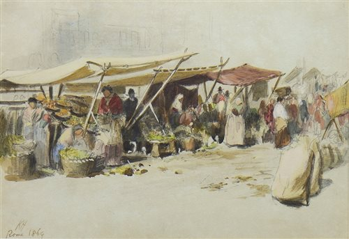 Lot 401-FRUIT MARKET, ROME, A WATERCOLOUR BY KEELEY HALSWELLE