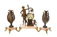 Lot 1435-A FIGURAL CLOCK GARNITURE