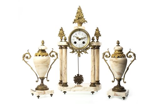 Lot 1434-A FOUR PILLAR MANTEL CLOCK GARNITURE