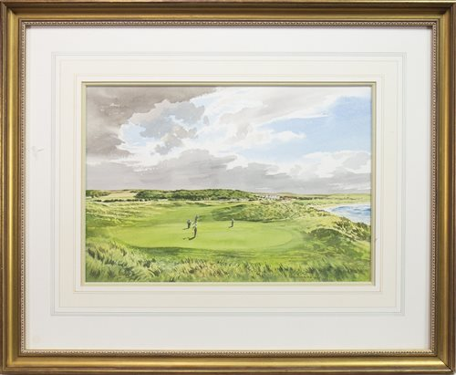 """Lot 460-""""GOATFELL"""", 8TH HOLE, AILSA COURSE, TURNBUERRY, A WATERCOLOUR BY KENNETH REED"""