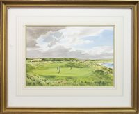 """Lot 466-""""GOATFELL"""", 8TH HOLE, AILSA COURSE, TURNBUERRY, A WATERCOLOUR BY KENNETH REED"""