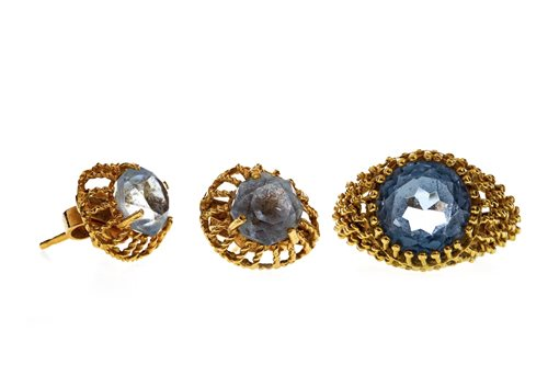 Lot 6-A SYNTHETIC SPINEL SET RING WITH EARRINGS
