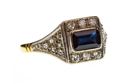 Lot 1-AN ART DECO STYLE BLUE GEM AND DIAMOND RING