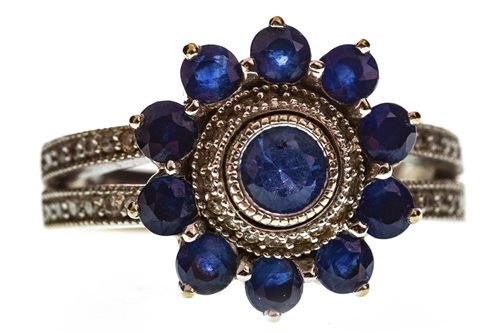 Lot 10-A BLUE GEM AND DIAMOND CLUSTER RING