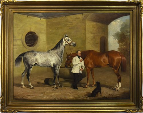 Lot 404-A DAY AT THE STABLES, AN OIL