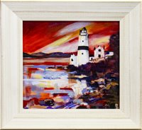 Lot 624-CLOCH LIGHTHOUSE, GOUROCK, AN ACRYLIC BY HELEN MCDONALD MATHIE