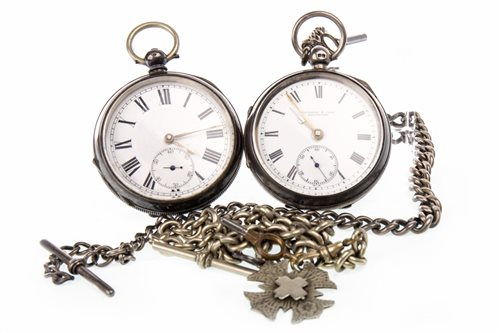 Lot 761 - TWO SILVER OPEN FACE POCKET WATCHES AND TWO ALBERT CHAINS