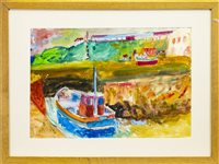 Lot 521-PORT SETON HARBOUR, A WATERCOLOUR BY JOHN BELLANY