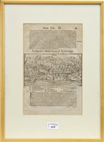 Lot 1639-A LEAF FROM 16TH CENTURY ATLAS WITH EARLY WOODCUT VIEW OF EDINBURGH