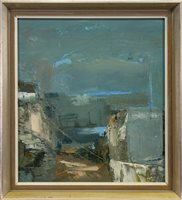 Lot 531-EVENING LIGHT, HARBOUR SCENE, AN OIL BY MARDI BARRIE