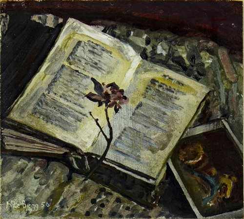 Lot 530-STILL LIFE WITH BOOK AND FLOWER, AN OIL BY NITA BEGG