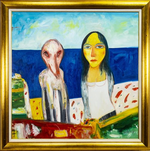 Lot 527-PORT SETON LIFE, AN OIL BY JOHN BELLANY