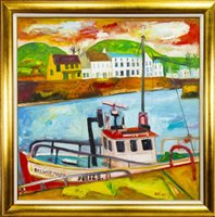 Lot 633-GALWAY MARY, AN OIL BY JOHN BELLANY