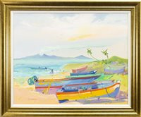 Lot 550-BEACHED BOATS, NEVIS, AN OIL BY JAMES HARRIGAN