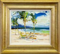 Lot 551-ON NISBET BEACH, NEVIS, AN OIL BY JAMES HARRIGAN