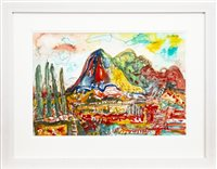 Lot 537-MOUNTAINOUS LANDSCAPE, A WATERCOLOUR BY JOHN BELLANY