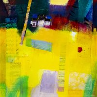 Lot 539-PATCHWORK CORNFIELD, A MIXED MEDIA BY FRANCIS BOAG