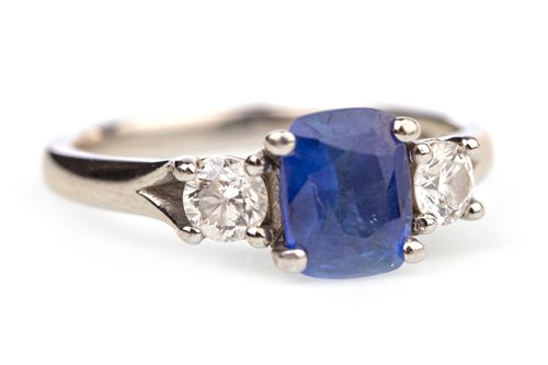 Lot 13-A BLUE GEM AND DIAMOND RING