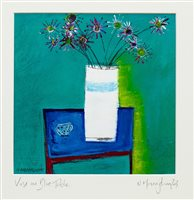 Lot 570-VASE ON BLUE TABLE, AN OIL BY NIKKI MONAGHAN
