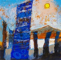 Lot 595-STANDING STONES, ORKNEY, A MIXED MEDIA BY GEORGE BIRRELL