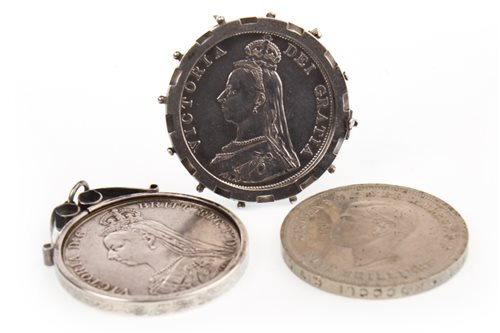 Lot 505-TWO VICTORIAN SILVER COINS AND A LATER CROWN