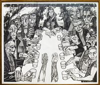Lot 554-MARRIAGE FEAST AT CANA (1953), A LITHOGRAPH BY ALASDAIR GRAY