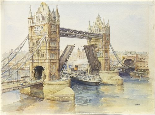 Lot 412-LONDON BRIDGE, A WATERCOLOUR BY ERIC STURGEON