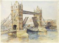 Lot 412-LONDON BRIDGE, A WATERCOLOUR BY ERIC STURGEON