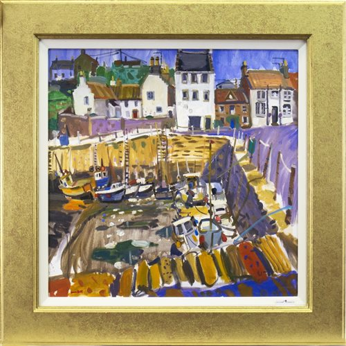 Lot 405-HARBOUR SCENE, A COLOUR PRINT ON CANVAS BY GLEN SCOULLAR