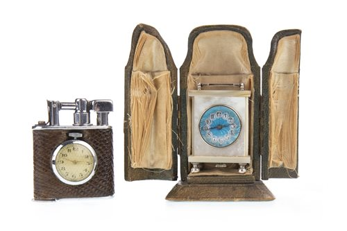 Lot 1437-A MOTHER OF PEARL MINIATURE CARRIAGE CLOCK WITH A WATCH SET LIGHTER