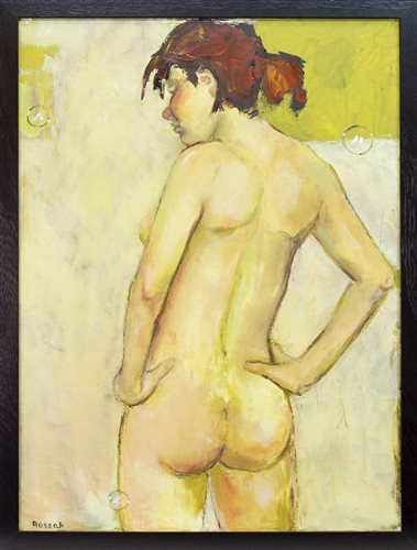 Lot 649 - BEFORE GETTING DRESSED, AN OIL BY BASIA ROSZAK