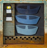 Lot 556-THREE WEE BOATS, A MIXED MEDIA ASSEMBLAGE BY DOROTHY STIRLING