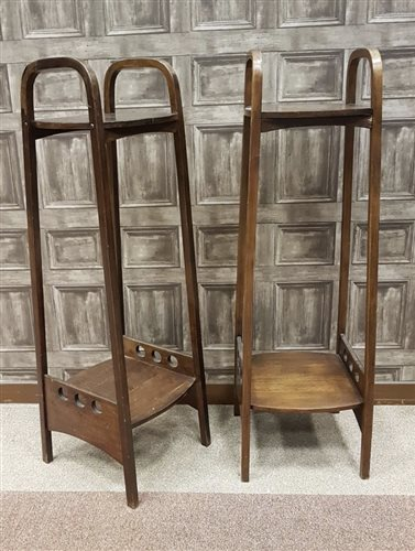 Lot 1653-A PAIR OF STAINED BEECH TWO TIER PLANT STANDS BY THONET