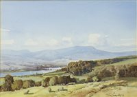 Lot 662 - NEAR GRANTOWN ON SPEY, A WATERCOLOUR BY TOM CAMPBELL