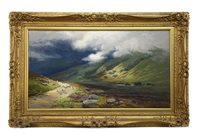 Lot 485-SHEEP IN A GLEN ON A STORMY DAY, AN OIL BY GEORGE MELVIN RENNIE