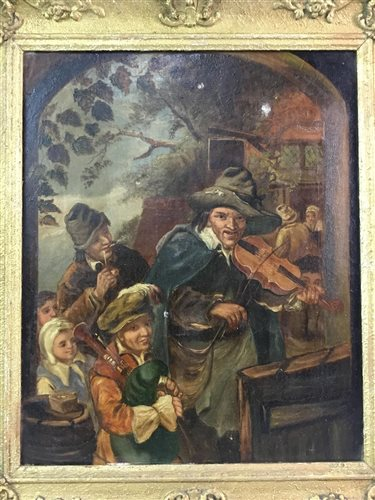 Lot 10-AN OIL DEPICTING MUSICIANS, SCHOOL OF D TENIERS (FLEMISH 18TH CENTURY)