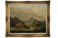 Lot 423-RIVER SCENE WITH BOATS AND FIGURES ON THE BANK, AN OIL BY PATRICK NASMYTH