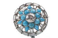 Lot 133-AN IMPRESSIVE ART DECO DIAMOND AND TURQUOISE BROOCH