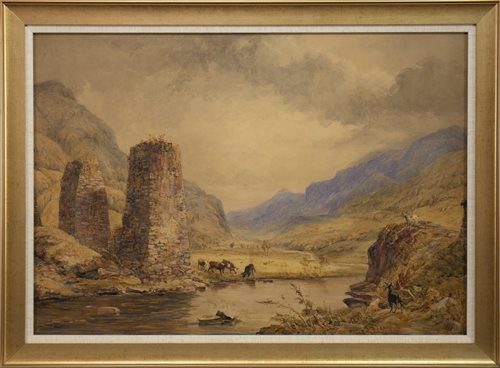 Lot 426-SCOTTISH GLEN LANDSCAPE WITH CATTLE AND GOATS, A WATERCOLOUR BY ANTHONY VANDYKE COPLEY FIELDING