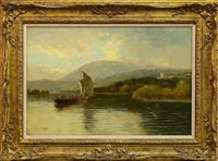Lot 425-BOATING ON THE RIVER DEE, BALMORAL, AN OIL BY SAM BOUGH