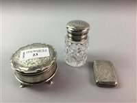 Lot 23-A SILVER CIRCULAR TRINKET BOX, VESTA CASE AND A PERFUME BOTTLE