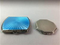 Lot 24-A SILVER AND BLUE ENAMEL CIGARETTE CASE  AND A SILVER COMPACT