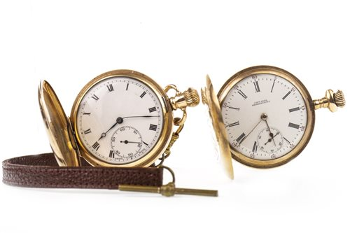 Lot 765-TWO GOLD PLATED POCKET WATCHES