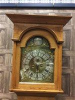 Lot 1442-AN OAK LONGCASE CLOCK