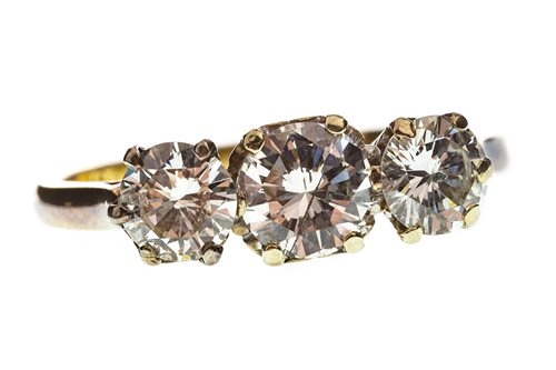 Lot 5-A DIAMOND THREE STONE RING