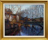 Lot 580-WINTER REFLECTIONS, BINGLEY,  A PASTEL BY JOHN MACKIE